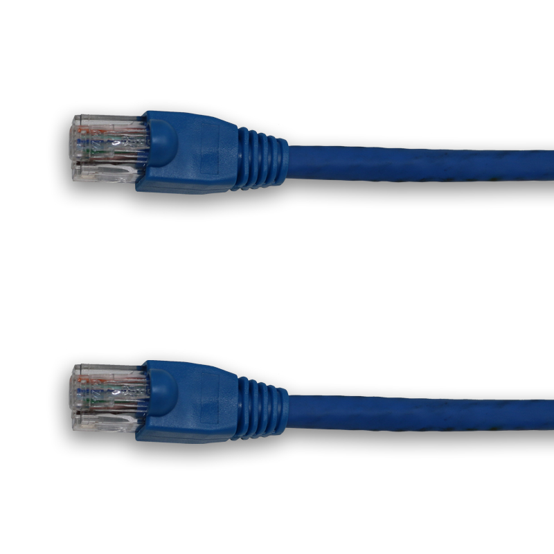 Cat6 blue, 60ft with boots, straight pinout