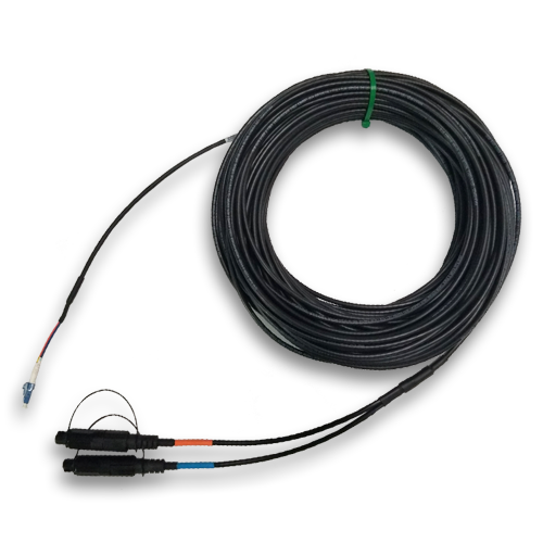 2 Fiber, Singlemode, LC/UPC- DUAL OPF (SC/APC) comparable to OptiTap®, I/O Riser w/ Pulling Sock, 100FT